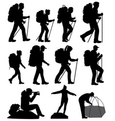 Silhouettes of hiking people vector