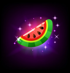slice sweet ripe pink glossy watermelon slot vector image