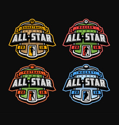 Sport logo set football basketball soccer vector