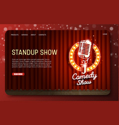 standup show landing page website template vector image