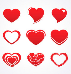 stylized valentine love heart collection vector image