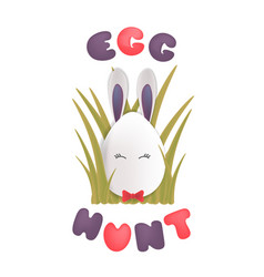 sweet easter egg rabbit in the grass happy easter vector image