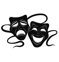 Theatre masks drama and comedy vector