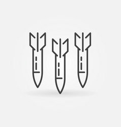 three missiles air strike concept outline vector image