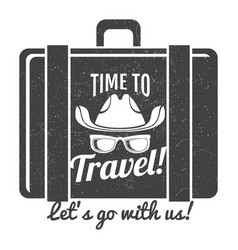 Time to travel grunge logo design vector