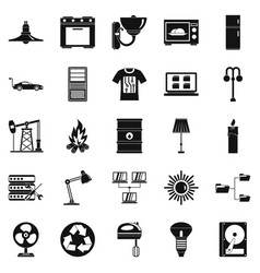 transformer icons set simple style vector image