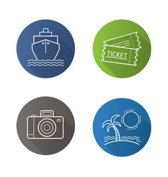 travel and tourism flat linear long shadow icons vector image