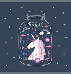unicorn in terrarium vector image