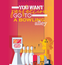 Vertical poster for print for bowling center with vector