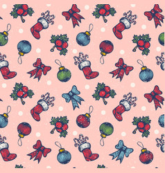 vintage seamless christmas pattern vector image