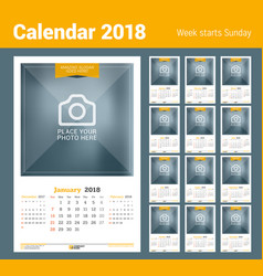 wall calendar for 2018 year design print template vector image