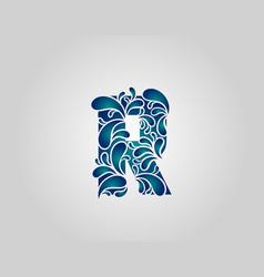 Water splash letter r logo icon droplets vector