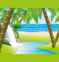 Waterfall and palm trees vector