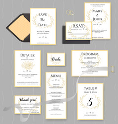 Wedding stationery collection set of vector