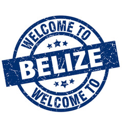 welcome to belize blue stamp vector image