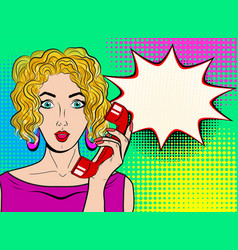 wow pop art female face sexy surprised blond vector image