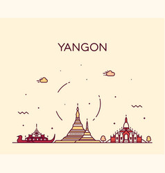 Yangon skyline myanmar linear style city vector