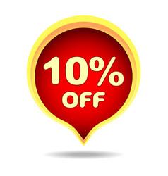 10 percent off speech bubble sticker label or vector image