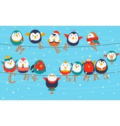 Christmas birds on wires Merry christmas words on vector image vector image