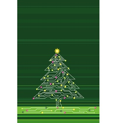 christmas tree made of electronics elements vect vector image vector image