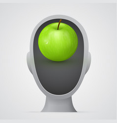 Green apple inside head silhouette vector