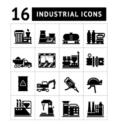 Industrial and factory icons set vector image vector image
