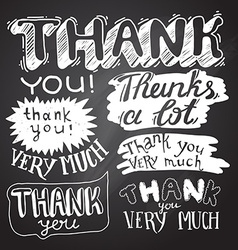Thank You card with Chalkboard Background vector image