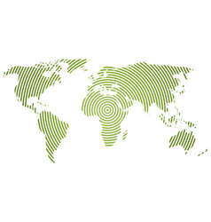 world map of green concentric rings on white vector image vector image