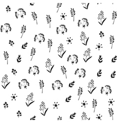 Black and white floral seamless pattern with vector image