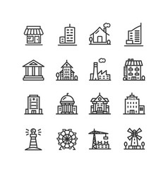 Building house or home black thin line icon set vector