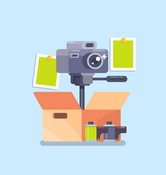 camera equipment flat isolated vector image