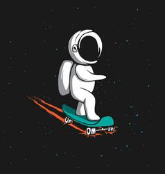 little astronaut rides on skateboard vector image vector image