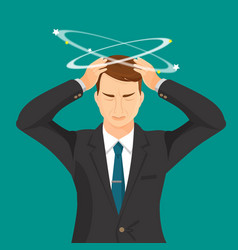 man in suit and tie with strong headache vector image vector image
