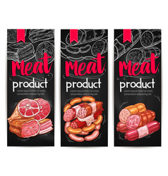 Meat and sausages chalkboard banner template vector