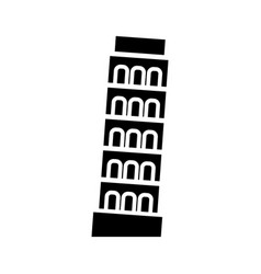 pisa - italy icon black sign vector image