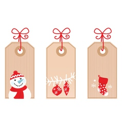 retro christmas gift tags vector image vector image