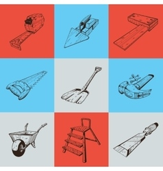 Set of nine with building tools vector image vector image