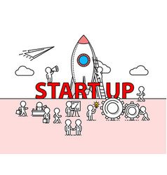 start up text work office with people vector image vector image