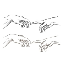 Adam hand of god like creation vector