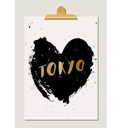 Black Heart Tokyo Poster vector image vector image