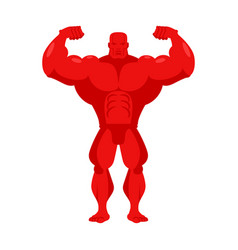 bodybuilder red cartoon athlete with big muscles vector image