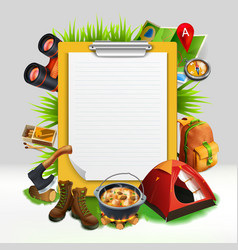 camping realistic note pad composition vector image