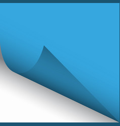 curled corner of blue paper with shadow vector image