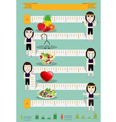 Fitness woman and diet info graphics vector