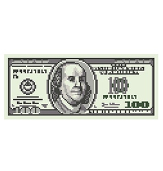 Pixel one hundred dollars isolated vector image