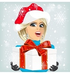 woman offering a christmas gift vector image vector image