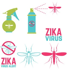 Zika virus alert Set of design elements vector image