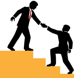 Business people help climb success vector image