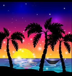 caribbean sea view with palm trees vector image vector image