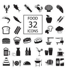 food drink seafood 32 icons vector image